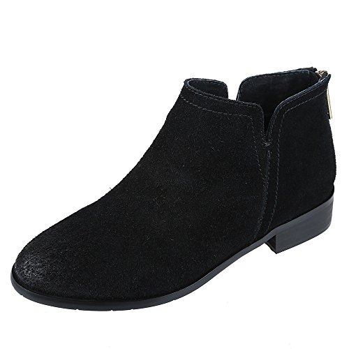 Leather Women Suede (Meeshine Womens Boots Leather Suede Low Heel Side V Cut Ankle Bootie Black US 8)