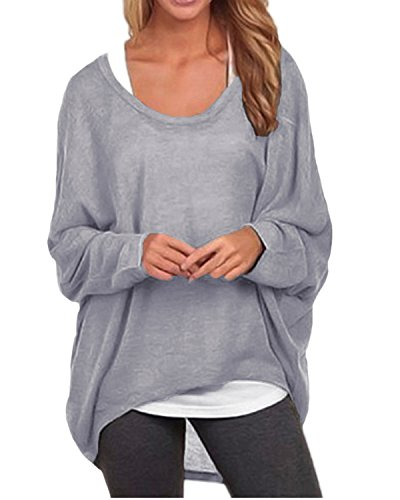 ZANZEA Women's Long Batwing Sleeve Loose Oversize Pullover Sweater Top Blouse Gray US 10/Tag Size L (Applique Baby Booties)