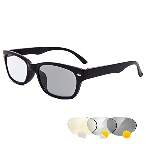 EYEGUARD Classic Transition Lens Photochromic Reading Glasses Spring Hinged Readers Sunglasses for Men and Women