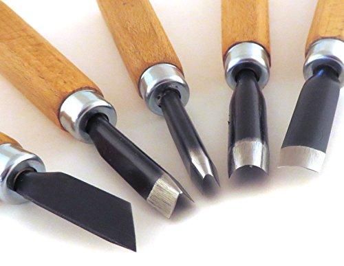 Narex 5 Piece Set Starter Carving Chisels 3 Gouges, V Tool and Double Bevel Skew Chisel 869200