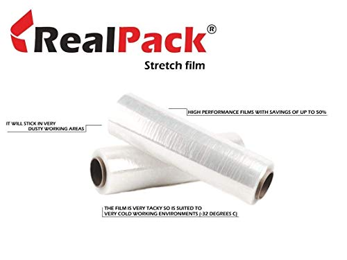 Realpack Clear Pallet Stretch Wrap Cling Film 400mm x 250m