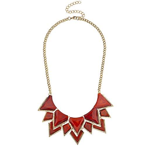 (Lux Accessories Gold Tone Red Spike Faux Semi Precious Statement Bib Necklace)