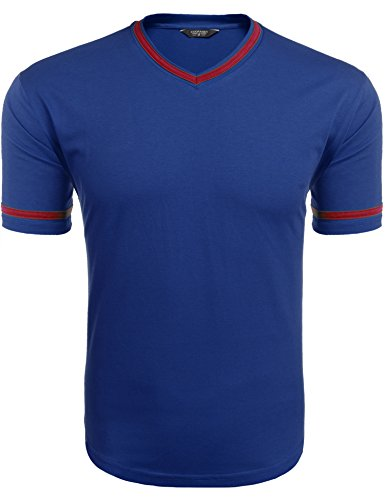 COOFANDY Mens Stylish Slim Fit V-Neck T-Shirt Short Sleeve Tops for cheap