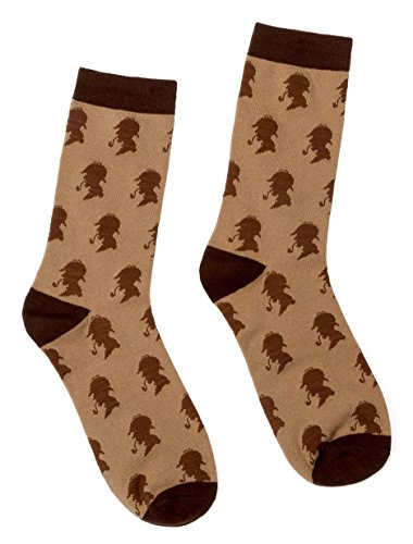 Out of Print Unisex Sherlock Holmes Socks Large Brown