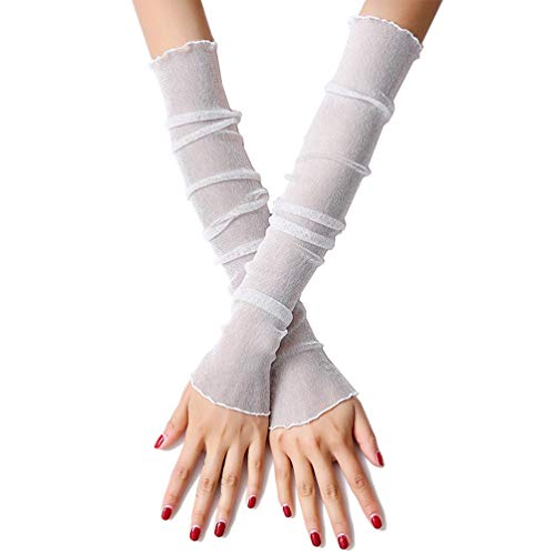 RedsGirl Women Girls Summer Outdoor Hiking Fishing Biking UV Protection Sexy Driving Beach Sunscreen Thin Cooler Arm Sleeves Cooling Hand Cover Long Lace Leg - Nylon Arms