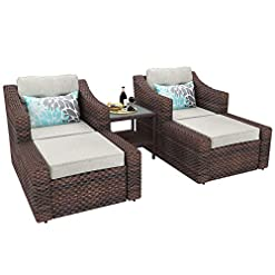 Garden and Outdoor YITAHOME 5 Piece Wicker Patio Furniture Sets, Outdoor Lounge Chair with Ottoman and Side Table & Beige Olefin Fabric… patio furniture sets