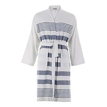 Cottonna 100% Turkish Cotton PeshTerry Bathrobe - Terry Cloth Interior and Peshtemal Exterior - Fouta Robe - Hammam Collection (White-Blue) One Size