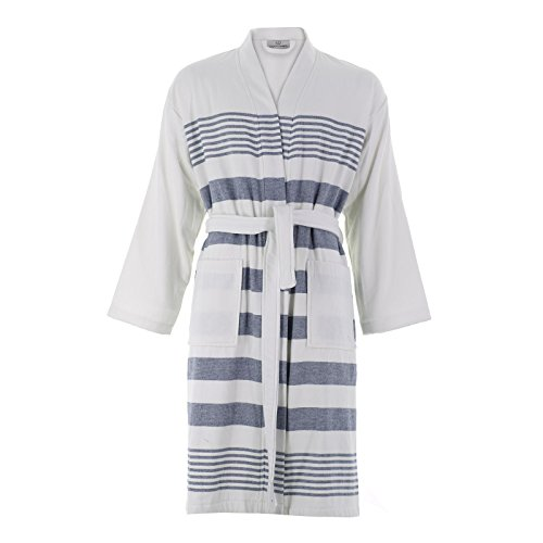 Cottonna 100% Turkish Cotton PeshTerry Bathrobe - Terry Cloth Interior and Peshtemal Exterior - Fouta Robe - Hammam Collection (White-Blue) One Size