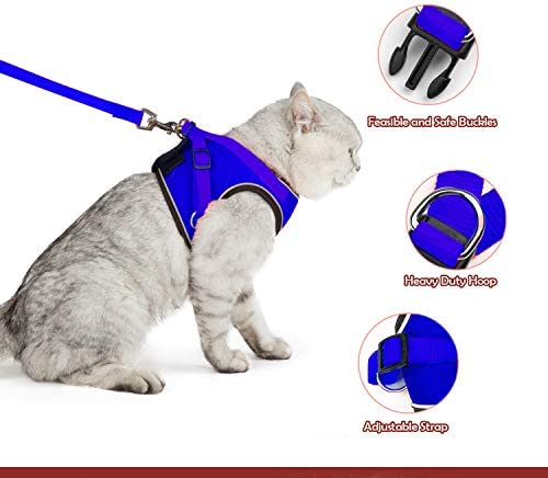 SENYE PET Cat Harness Escape Proof Small Cat and Dog Soft Mesh Vest Harnesses Adjustable Pet Harness with Leash Clip /& Reflective Strap Cat Walking Jacket Comfort Fit for Kitten Puppy