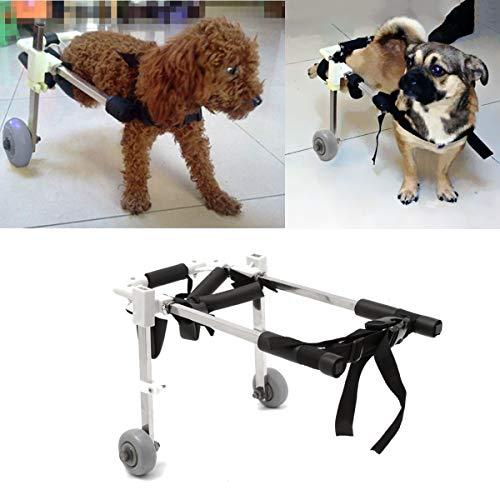 ZHENWOCAI 10 Inch Stainless Steel Pet Dog Cart Wheelchair Walk for Handicapped Doggie Folding Chair New