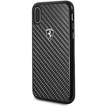 brand new 48f60 f5507 CG Mobile Ferrari iPhone X & iPhone Xs Case Black Cell Phone Carbon Fiber |  Easily Accessible Ports | Officially Licensed.