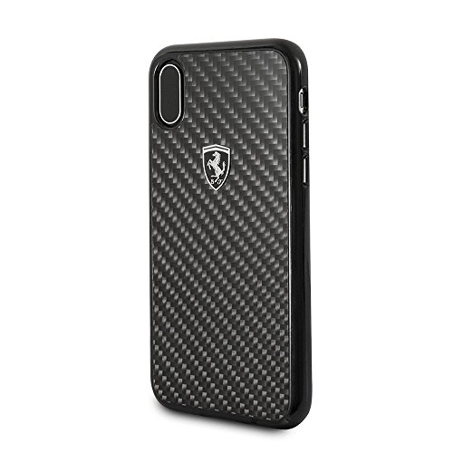 CG Mobile Ferrari iPhone X & iPhone Xs Case - by CG Mobile - Black Cell Phone Carbon Fiber | Easily Accessible Ports | Officially Licensed.