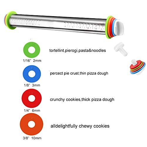 Rolling Pin with Thickness Rings and Pastry Mat Set for Baking Cookie Chapati Fondant Dough Pastry Pizza Pie Crust, Stainless Steel Roller Pin