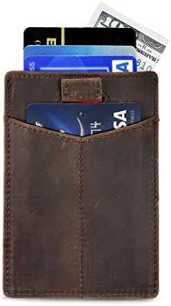 Slim Credit Card Holder with RFID Blocking Thin Minimalist Wallet Front Pocket Wallets for Men - Made From Full Grain Leather