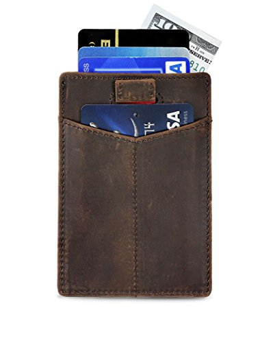 Travel Wallet Slim Credit Card Holder RFID Blocking Thin Minimalist Front Pocket Wallets for Men - Made From Full Grain Leather (Texas Brown CH)
