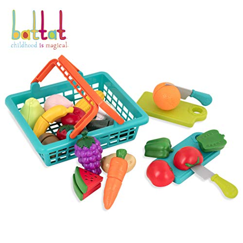 Battat - Farmers Market Basket - Toy Kitchen Accessories - Pretend Cutting Play Food Set for Toddlers 3 Years + (37-Pcs) (Play Food Vegan)