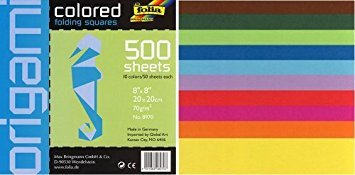 Square Colored 8-by-8-Inch Origami Paper, 500 Sheets by FineArtStore