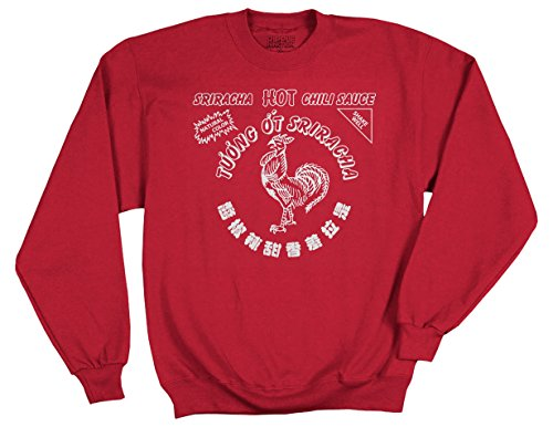 Hot Adult Sweatshirt - Ripple Junction Sriracha Hot Sauce Bottle Label Adult Sweatshirt Medium Red