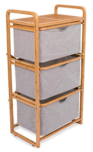 BIRDROCK HOME 3 Drawer Bamboo Dresser | 3 Tier Sliding Cloth Storage Bins Chest of Drawers | Removable Drawers | Grey ()