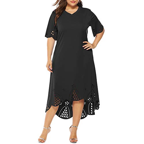 Goddessvan Womens Plus Size Dress Casual V Neck Ruffled Sleeve Mid Calf Dress Party Dress Black