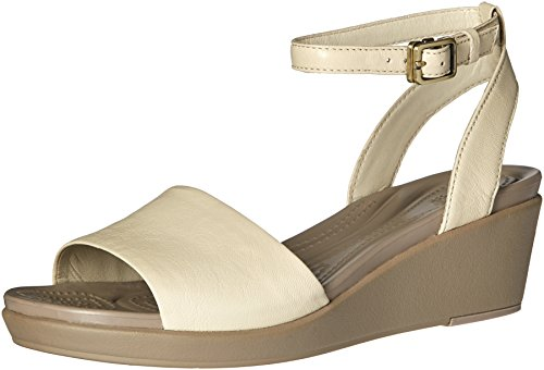 Crocs - Frauen Leigh Ann Ankle Strap Leder Plattformen Stucco