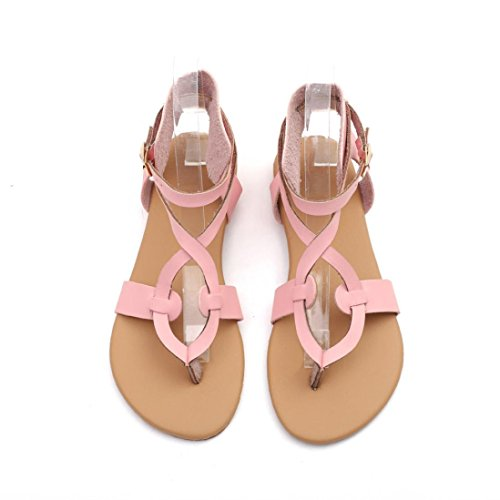 Lace Teenage Breathable up Casual Rome Flat TM Sandals Round Pink Colorful Toe Women Girls Beach Summer Shoes xqU8xz0wt