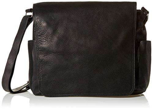 Piel Leather Urban Messenger Bag, Black, One Size