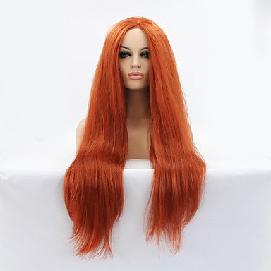 Peluca para disfraz de Halloween, peluca de encaje sintético para mujer, larga, recta