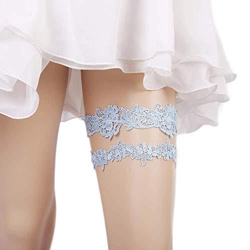Lace Wedding Garters for Bride Flower Floral Stretchy Garter Set 2 PCS Handmade Bridal Garter Belt Leaf Style