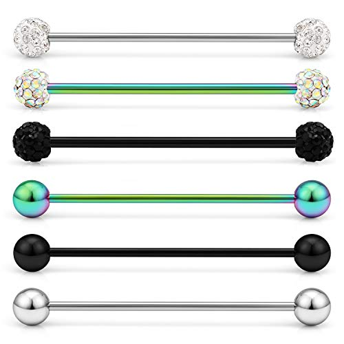 Lcolyoli 16G Industrial Barbell Surgical Steel Short Cartilage Earring Body Piercing Jewelry for Women Men Bar 1 1/4 Inch(32mm) 6 Pieces Rainbow Black -