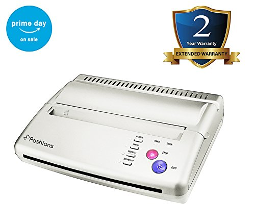Poshions Thermal Copier Tattoo Stencil Transfer Copier Thermoprinter Tattoo Kit Tattoo Transfer Machine, with 10 Free Stencil Sheets for Temporary and Permanent Tattoos–Silver
