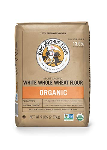 - King Arthur Flour 100%s Organic Unbleached White Whole Wheat Flour, 5 Pound