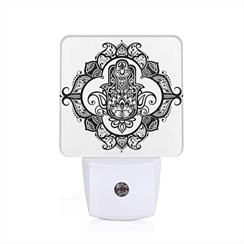 Colorful Plug in Night,Curvy Ornate Frame with Antique Religious Motif Floral Ethnic Tattoo Hand of Fatima,Auto Sensor LED Dusk to Dawn Night Light Plug in Indoor for Childs Adults -