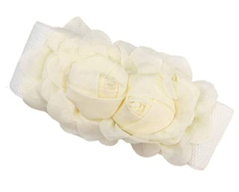 960091da1e6e Bigood Élégant Femme Ceinture Jolie Fleur Chiffon Décoration Robe Beige