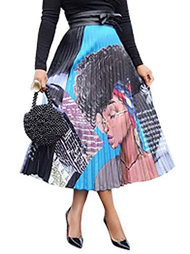 Halfword Womens Graffiti African Maxi Skirt - Color Block Letter Print Pleated Swing Midi Dress Cartoon - Block Skirt
