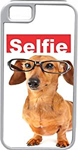 Rikki KnightTM Selfie Brown Daschund Dog White Tough-It Case Cover for iPhone 4 & 4s (Double Layer case with Silicone Protection)