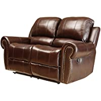 Abbyson Mercer Reclining Italian Leather Loveseat