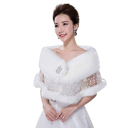 Elehere White Wedding Wraps Faux Fur Shawl Bridal Bolero Jacket Winter Wedding Coat (White) from Elehere
