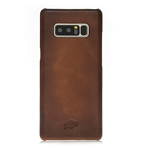 Burkley Case Luxury Leather Snap-On Back Cover for Samsung Note 8 | Slim and Lightweight | Burnished Tan