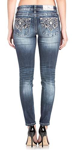 Miss Me Women's Low-Rise Embellished Pocket Ankle Skinny Jeans (Blue, 26) (Miss Me Dark Skinny Jeans)