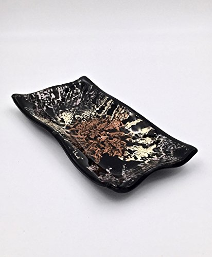 Black Fused Glass Decorative Bowl with Metallic Copper, Gold and Silver (Black Rectangular Bowl)