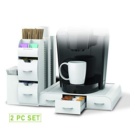 Mind Reader ''Combine'' 2-Piece Single Serve Coffee Pod Drawer and Condiment Organizer Station, White by Mind Reader