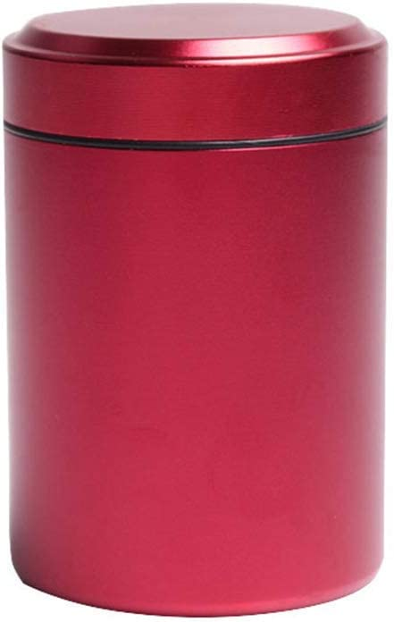 Airtight Stash Jar Smell Proof Durable Multi-Use Portable Metal Herb Jar Container. Waterproof Aluminum Screw-top Lid Lock Odor (Red)