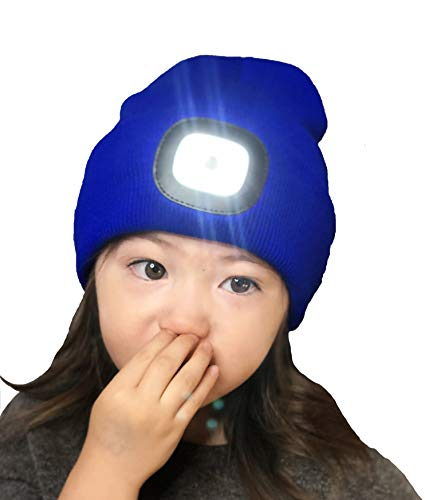 Charge Cap USB Bright LED headlamp Beanie - Activewear LED headlamp. Remove + Recharge Bright LED Lights, NO Batteries to Replace, LED Beanie hat, Blue(Kids Size)