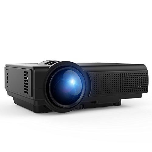TENKER Q5 Projector, 1500 Lumens LED Mini Projector Support 1080P HDMI USB TF VGA AV, Multimedia Home Theater LCD Video Projector, Black