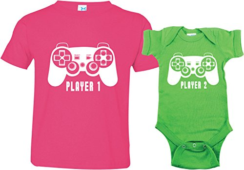 Texas Tees Sister Player 1 Shirt, Little Brother Player 2 Shirt, Includes Size 5/6 & 0-3 m
