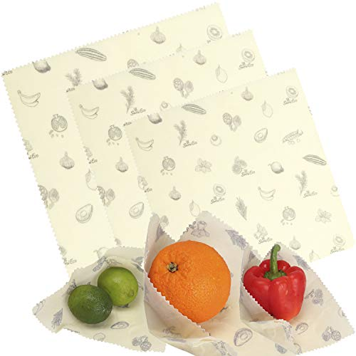 Sumi Eco Beeswax Reusable Food Wrap Covers - 3 Pcs - Assortment of 3 Sizes - Organic, Eco-Friendly & Reusable Kitchen Cling Wrap - Prolonged Freshness