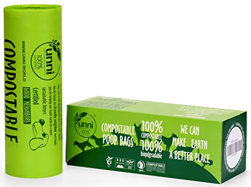 UNNI 100% Compostable Dog Poop Bags, Extra Thick Pet Waste Bags, 300 Bags on a Single Roll, 9x13 Inches, Earth Friendly Highest ASTM D6400, US BPI and Europe OK Compost Home Certified, San Francisco