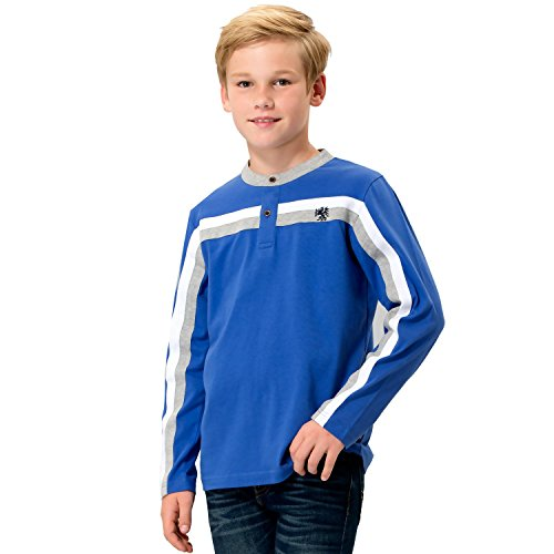 (Leo&Lily Boys' Kids' Long Sleeves Sports Casual Yarn Dyed Pull On Top T Shirt (6,)
