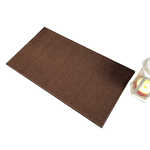 Doormat 18x30 Solid Brown Kitchen Rugs and mats | Rubber Backed Non Skid Rug Living Room Bathroom Nursery Home Decor Under Door Entryway Floor Carpet Non Slip Washable | Made in Europe